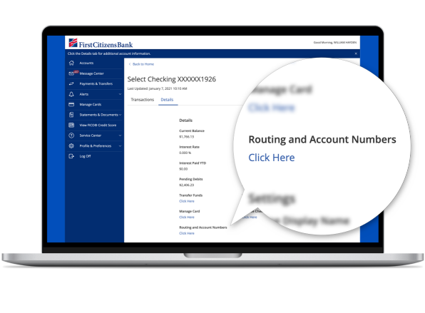 A screenshot of First Citizens Digital Banking dashboard that shows where the link to view routing and account numbers is.